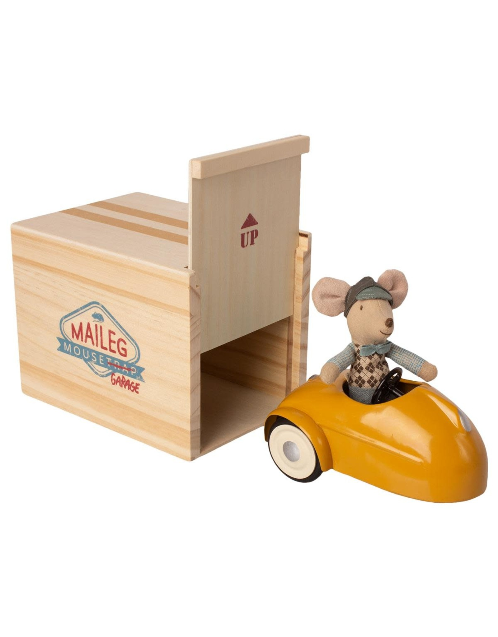 MAILEG Mouse car with garage, Yellow