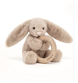Jellycat Bashful bunny Wooden Ring Beige