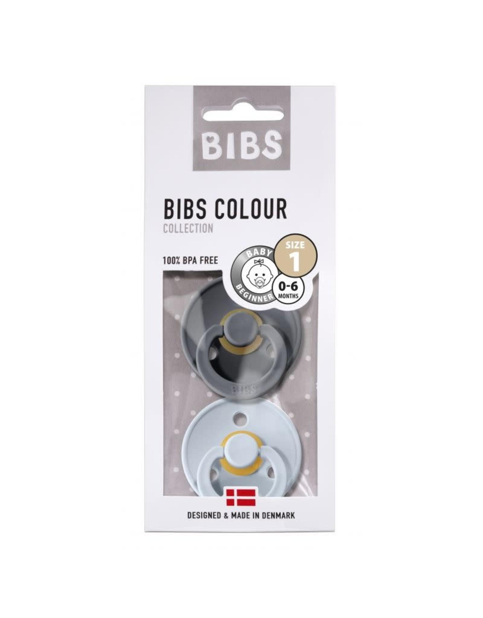 BIBS Tutes -  blister Iron / Baby Blue T1
