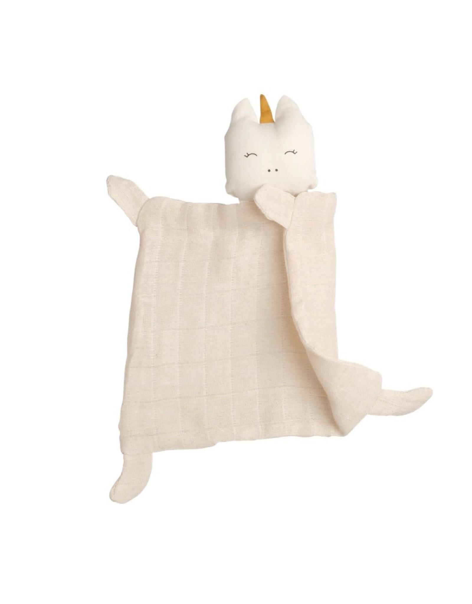 Fabelab Doudou licorne en coton bio blanc