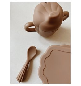Konges Slojd Set à manger en silicone - coquillage / Terra Cotta