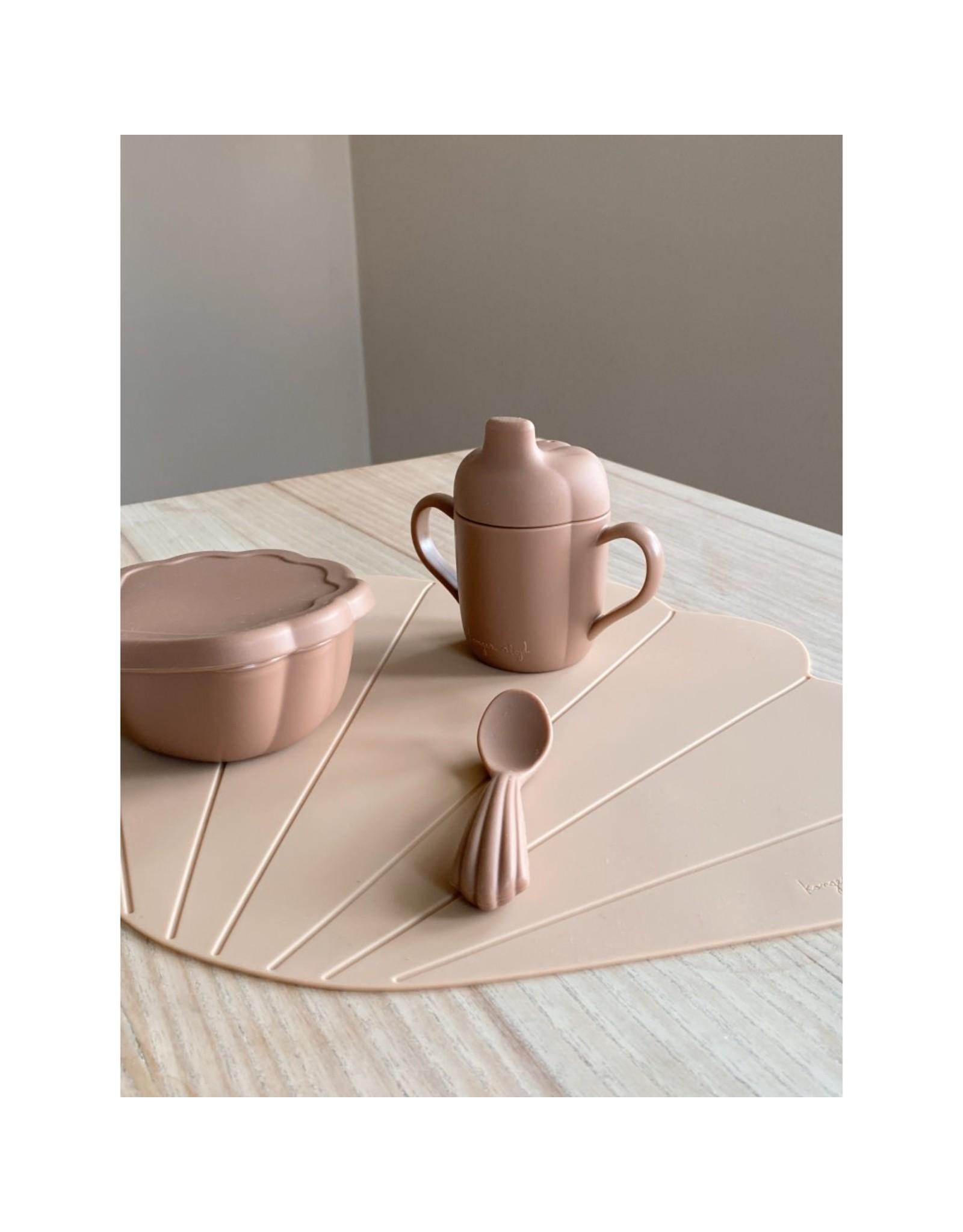 Konges Slojd Set à manger en silicone - coquilage / Blush