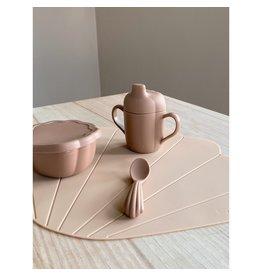 Konges Slojd Set à manger en silicone - coquillage / Blush