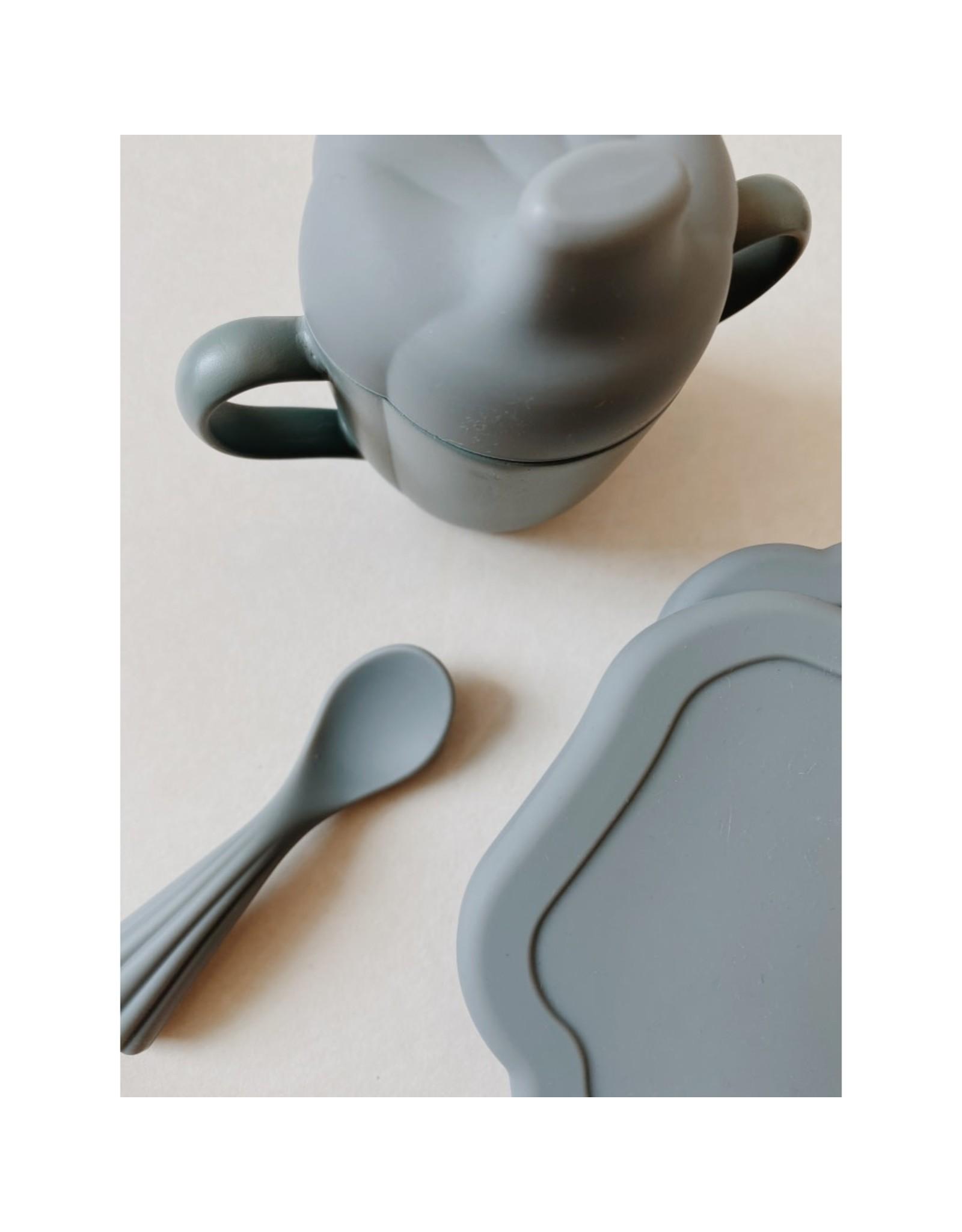 Konges Slojd Set à manger en silicone - coquillage / Bleu