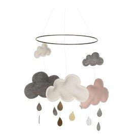 Konges Slojd Mobile nuages rose et blanc