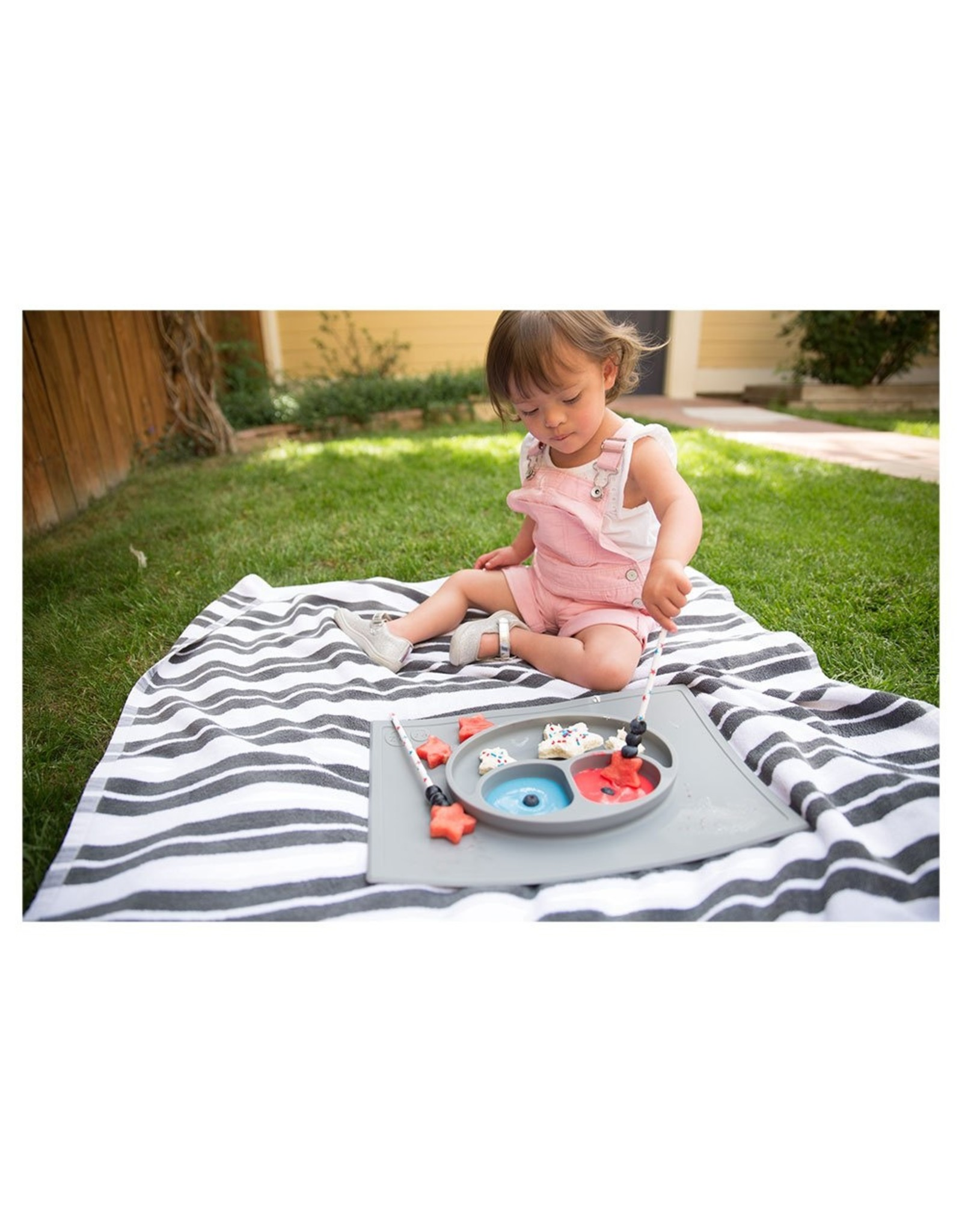 EZPZ Assiette / set de table anti dérapant - gris