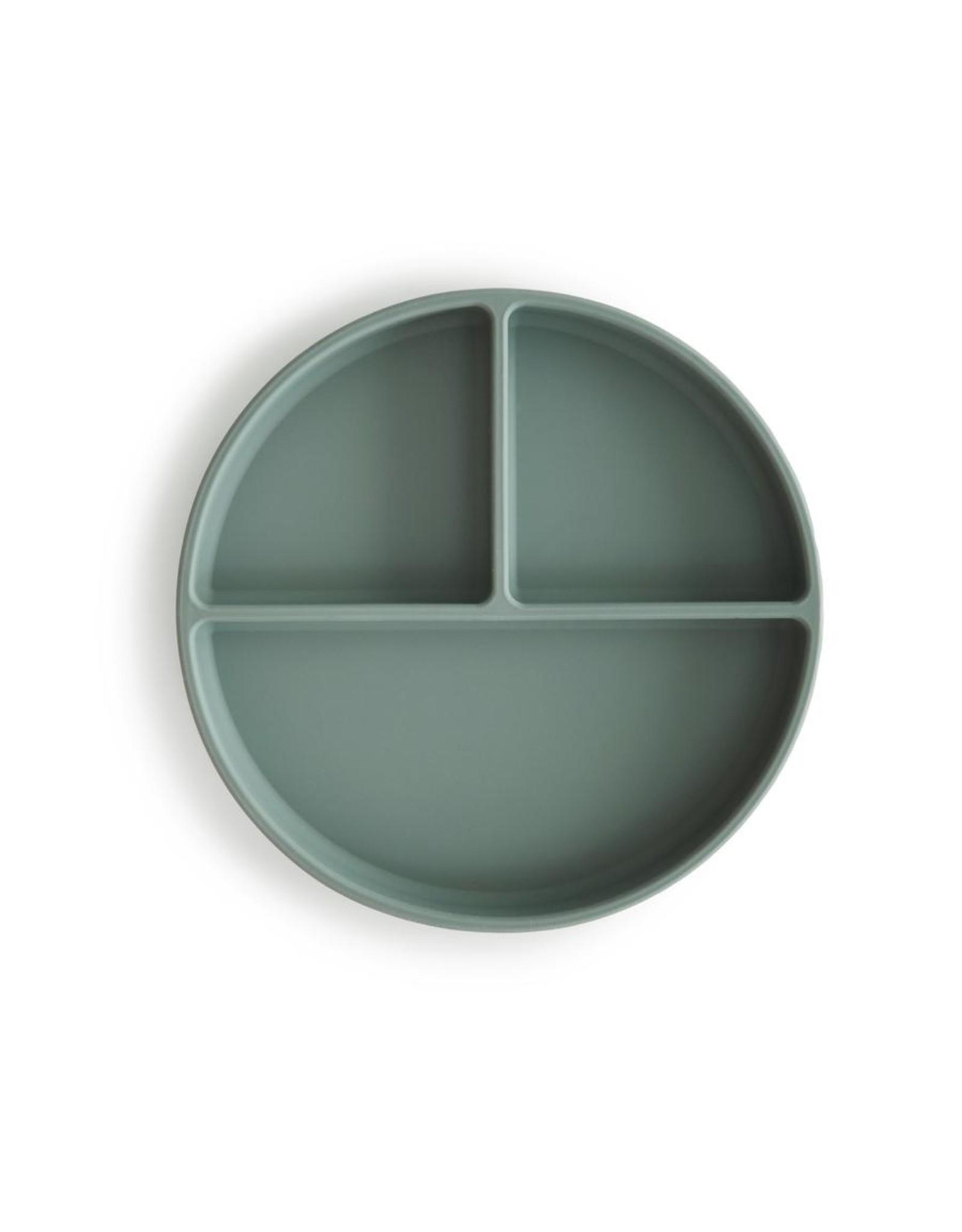 Mushie Assiette à compartiments en silicone + ventouse - Cambridge Blue