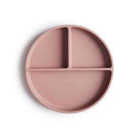 Mushie Assiette à compartiments en silicone + ventouse - Blush