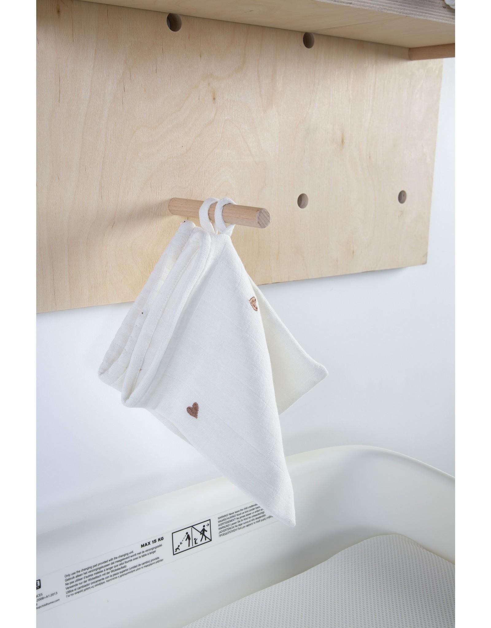 Childhome Lot de 4 gant de toilette  écru et cœurs