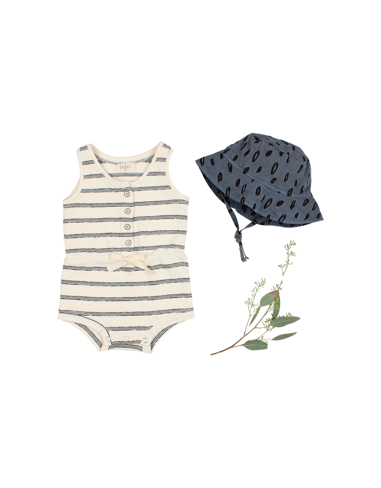 Buho Barboteuse navy stripes - Cloud
