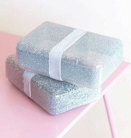 A Little Lovely Company Lunch box glitter argenté