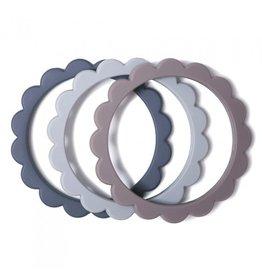 Mushie Bracelet de dentition - Steel / dove gray / Stone