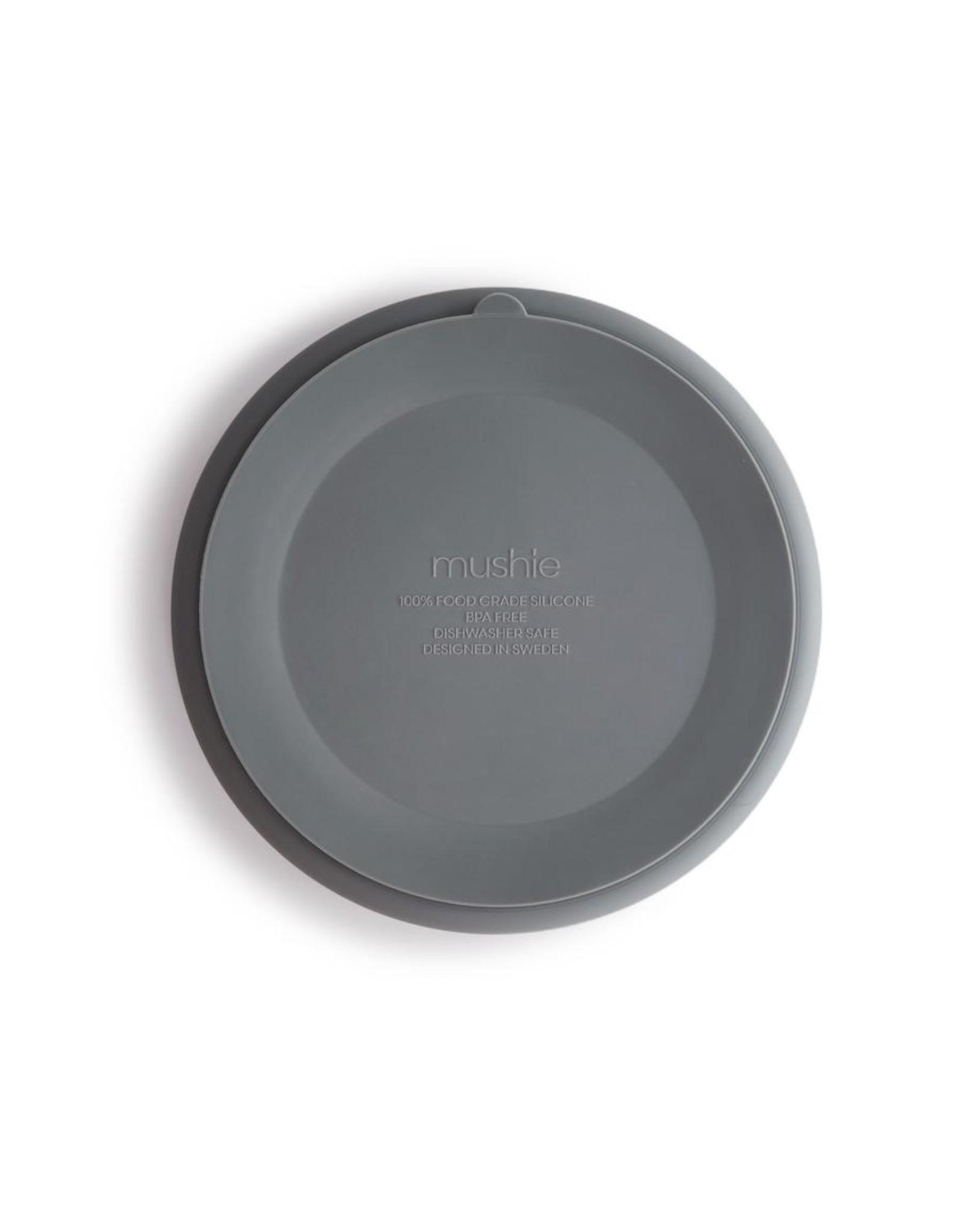 Mushie Assiette à compartiments en silicone + ventouse - Stone
