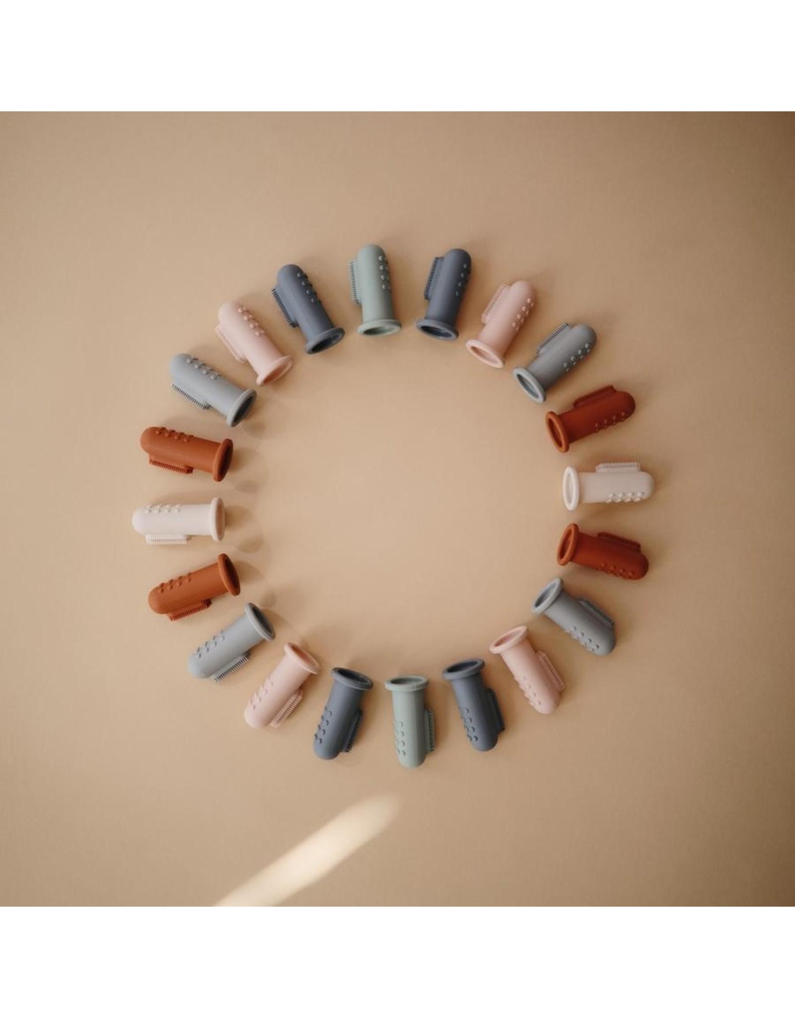 Mushie Brosse à dents bébé 2pcs - Shifting sand & Cambridge Blue