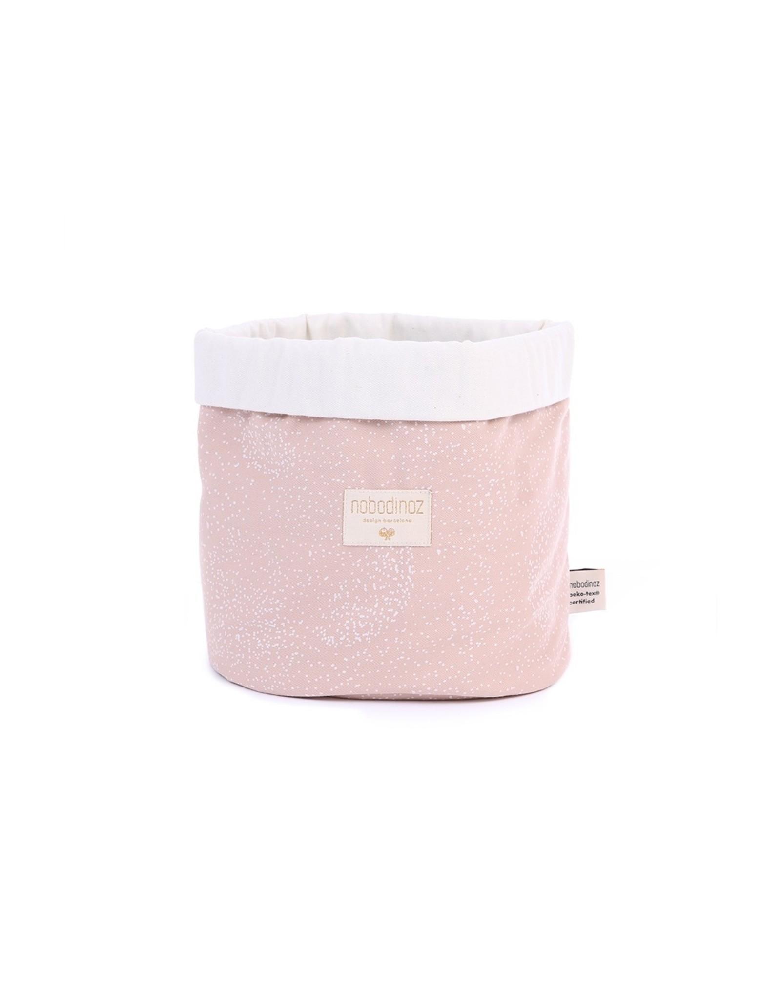 nobodinoz Panier de rangement PANDA - White bubble/misty pink Medium