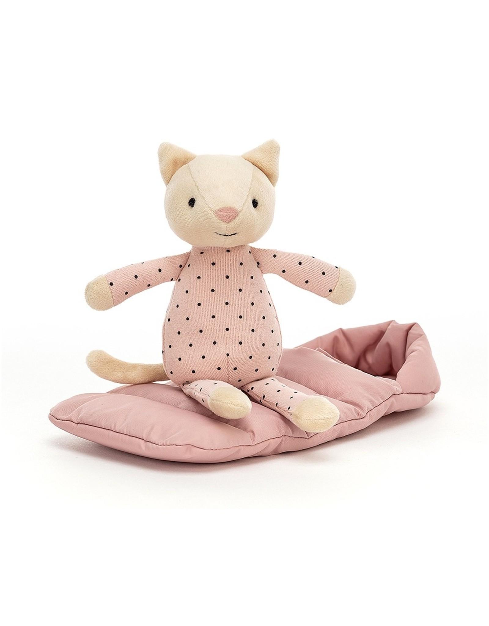 Jellycat Chat Snuggler et son sac de couchage