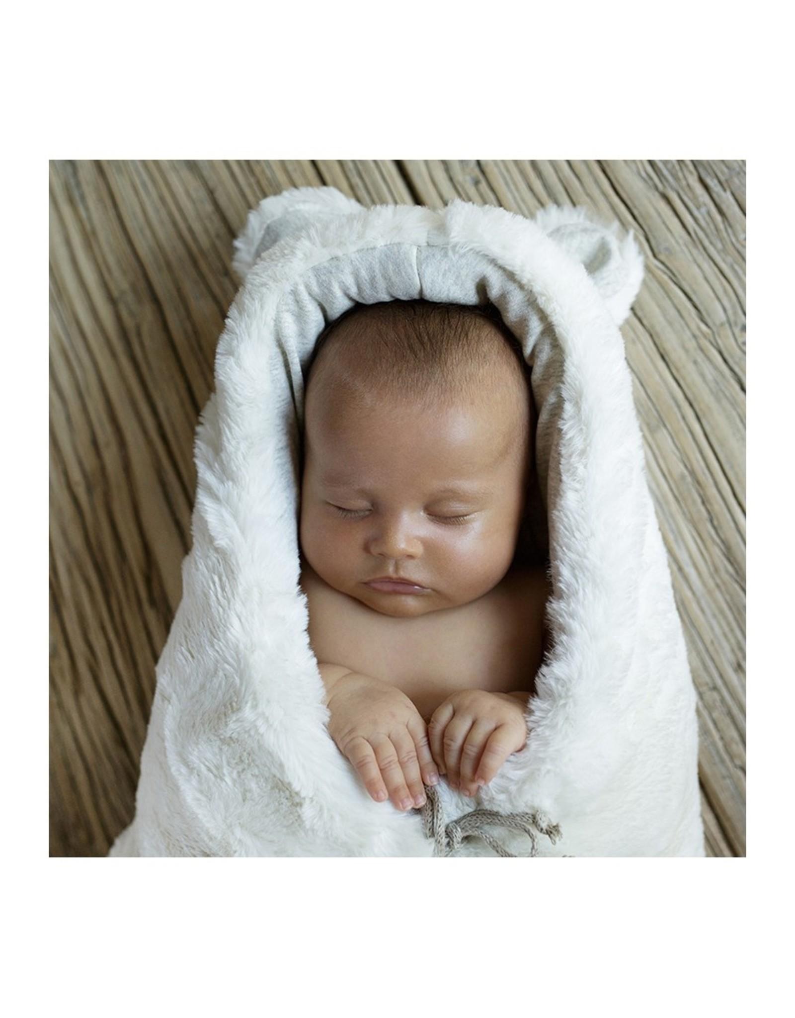 Baby Shower Chancelière en teddy Snow blanc - intérieur gris clair