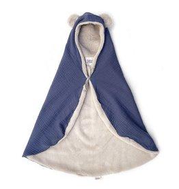 Baby Shower Couverture polaire + oreilles  - Bleu marine powder