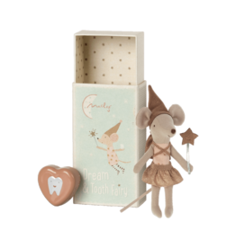 MAILEG Tooth fairy mouse in matchtbox - rose