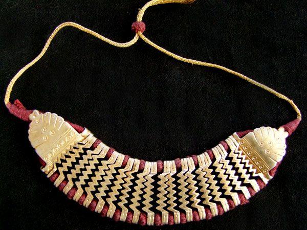 Tribal Silber Choker, vergoldet