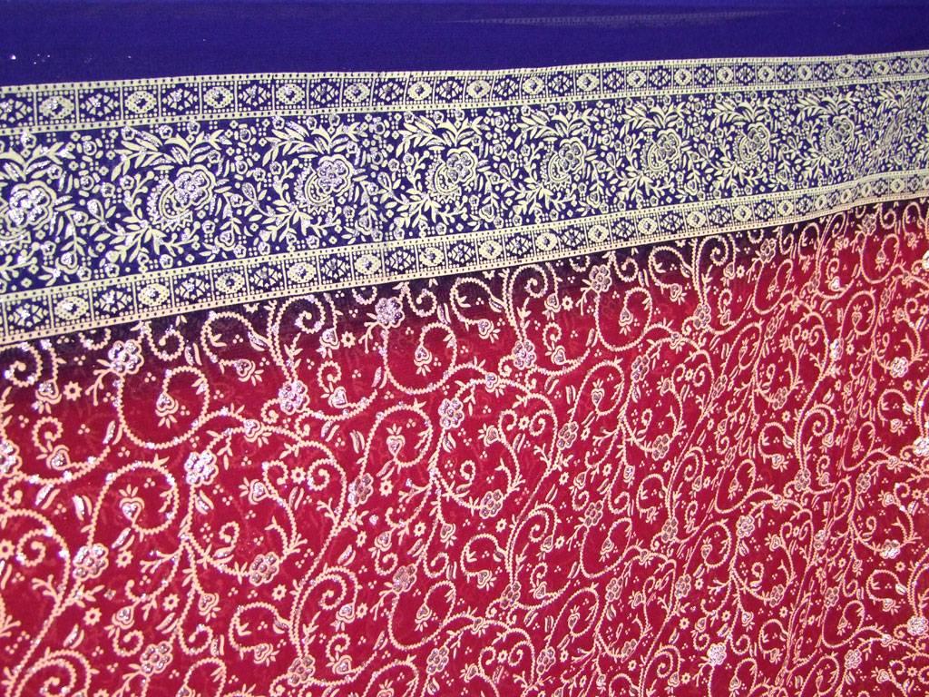 Jodha mharani Saree red/ blue