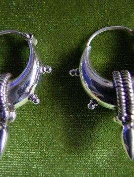 Bali Creolen mit Spitze, Silber klein
