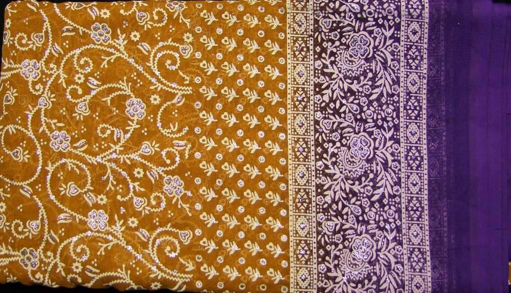 Jodha mharani Sari senfgelb/ lila