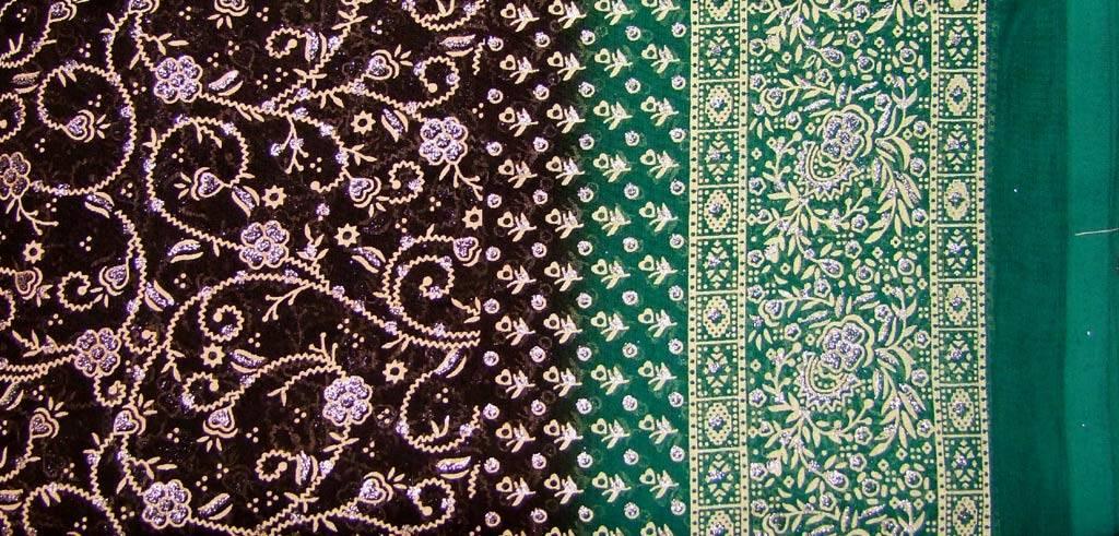 Jodha mharani Sari dunkelbraun/ grün