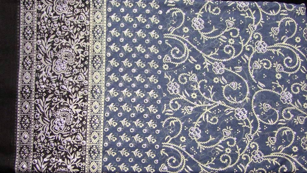 Jodha mharani Sari grau/ schwarz