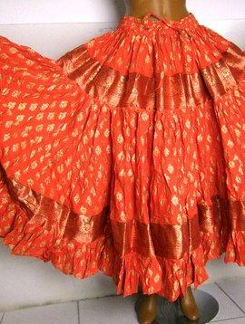 Golden  Blockprint Tribal Skirt