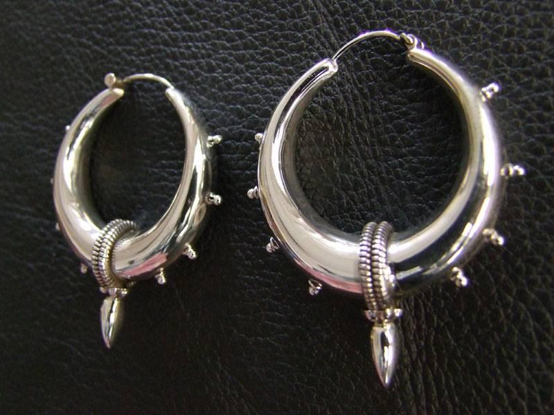 Silver Bali Earrings with spike