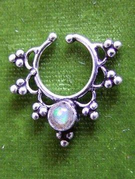 Silber fake Septum/ Nasenring  mit Opal