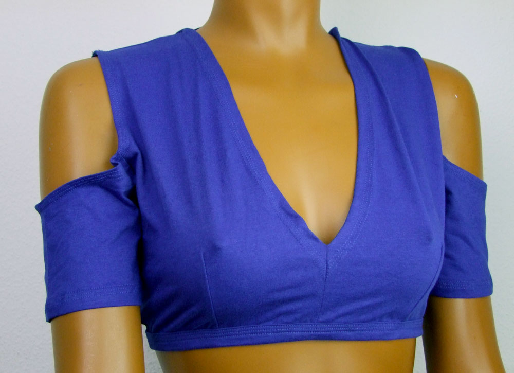 Tribal Top, split shoulders, blue