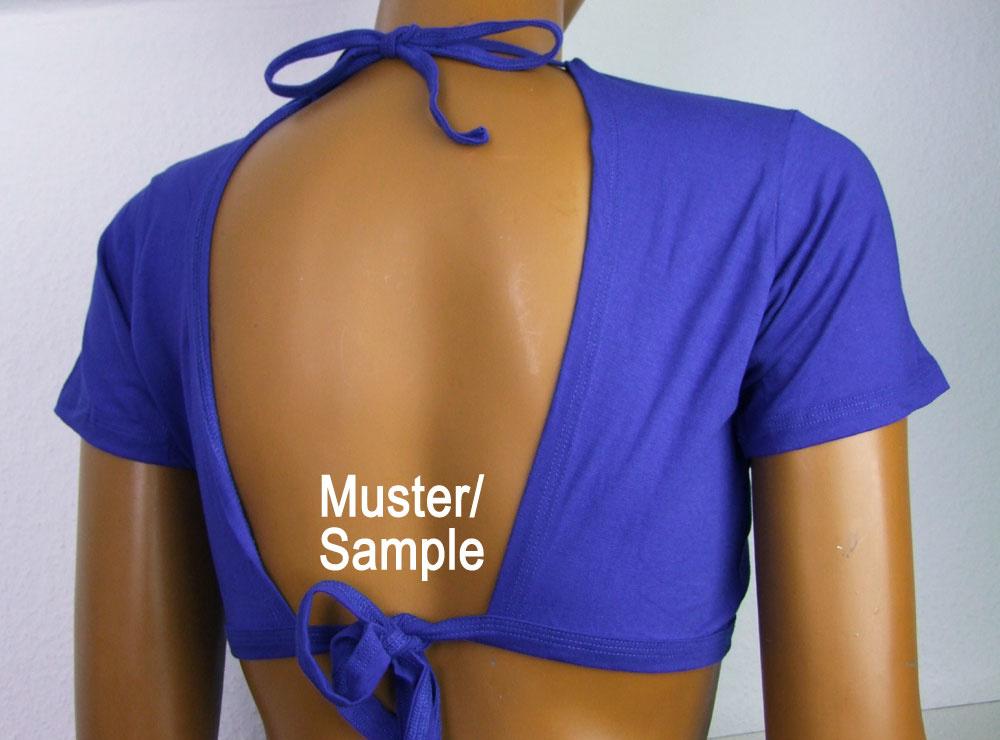 Tribal Top, freie Schultern, blau