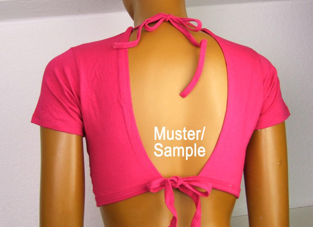 Tribal Top, split shoulders, pink