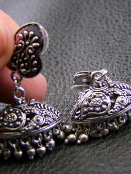 German Jhumka Silver Earrings