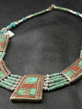 Tribal Necklace with Turquoise and Coral