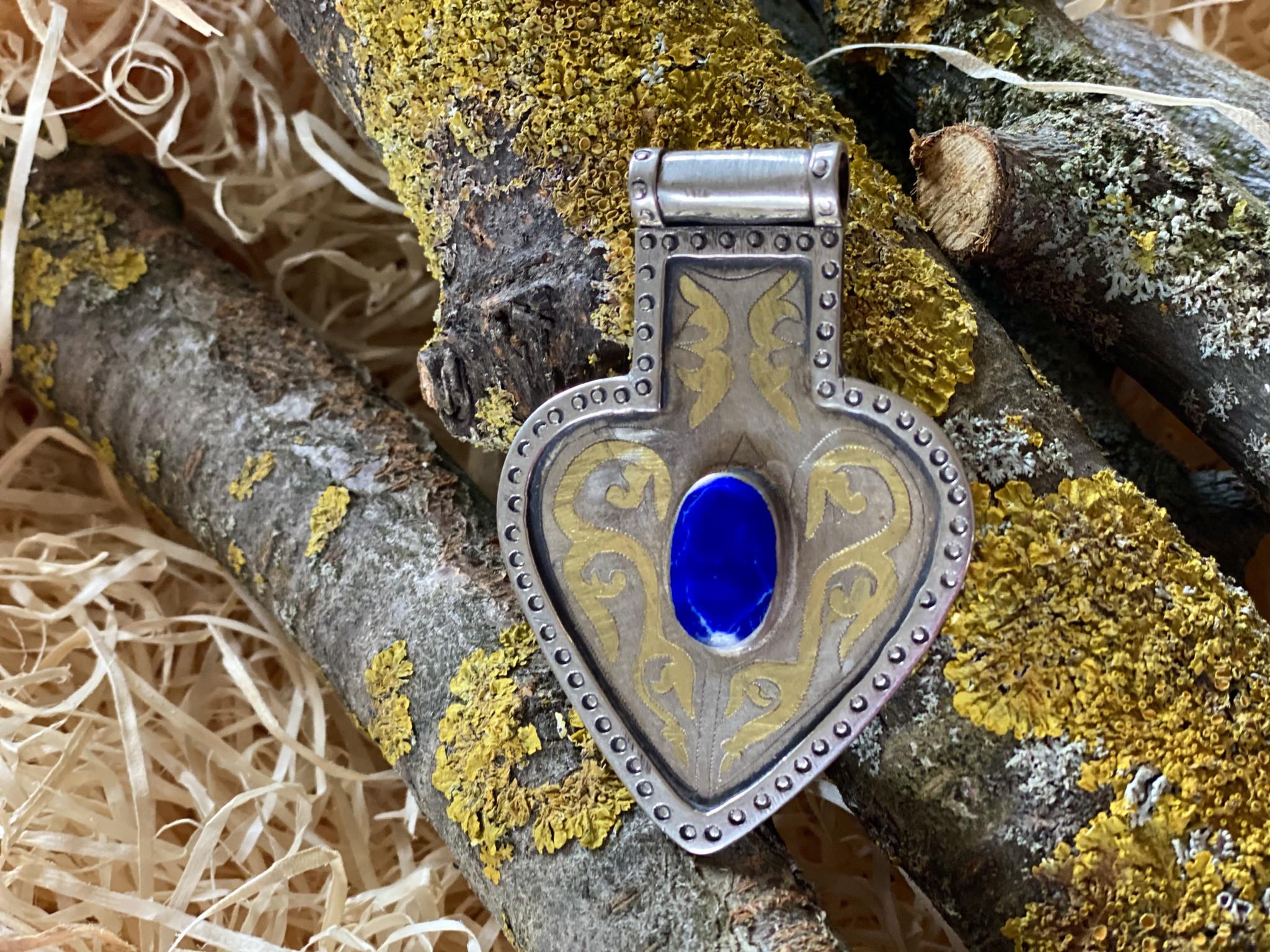 Silver turkmen heart pendant