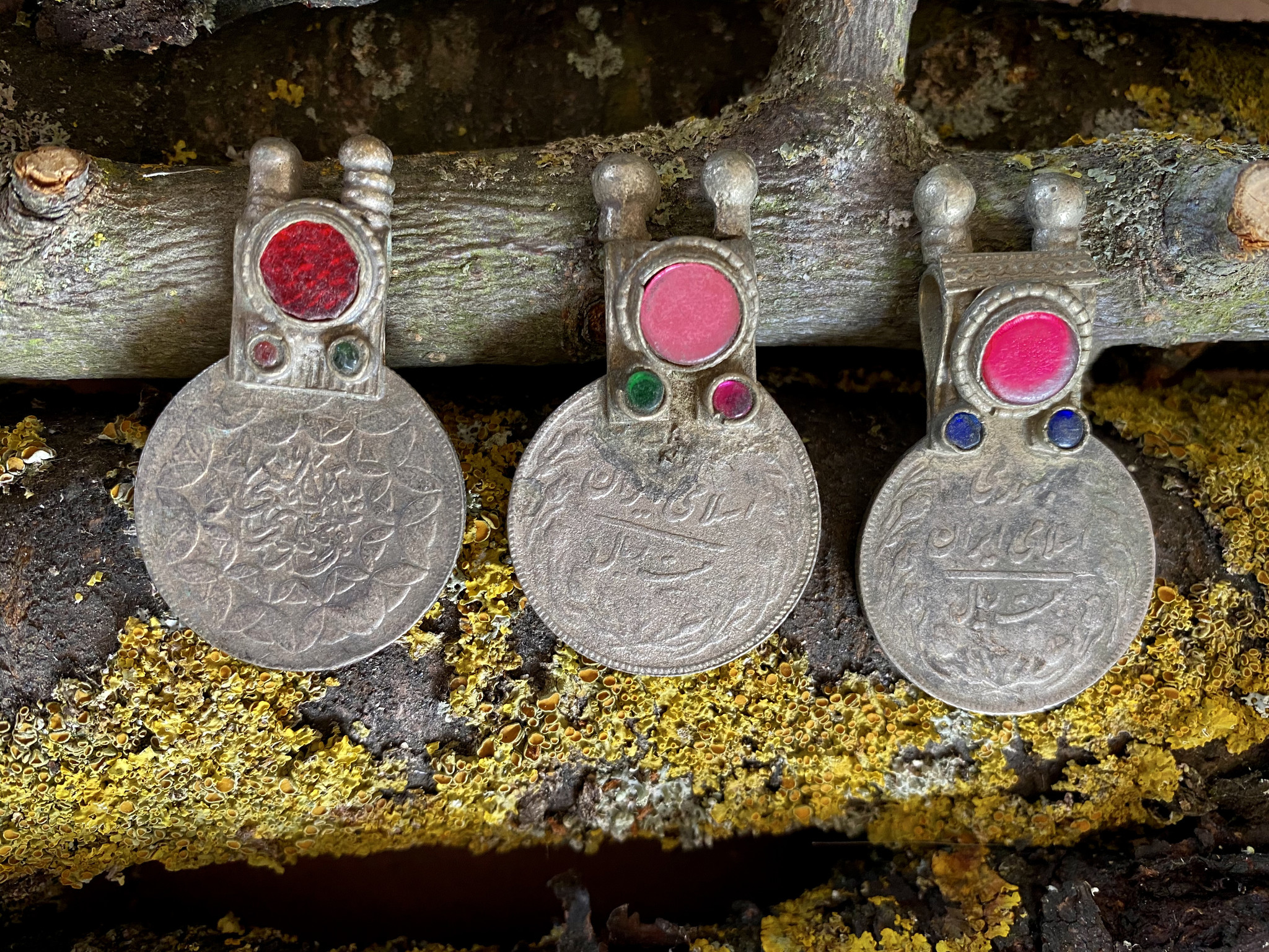 Tribal Coins decorated with colored glass