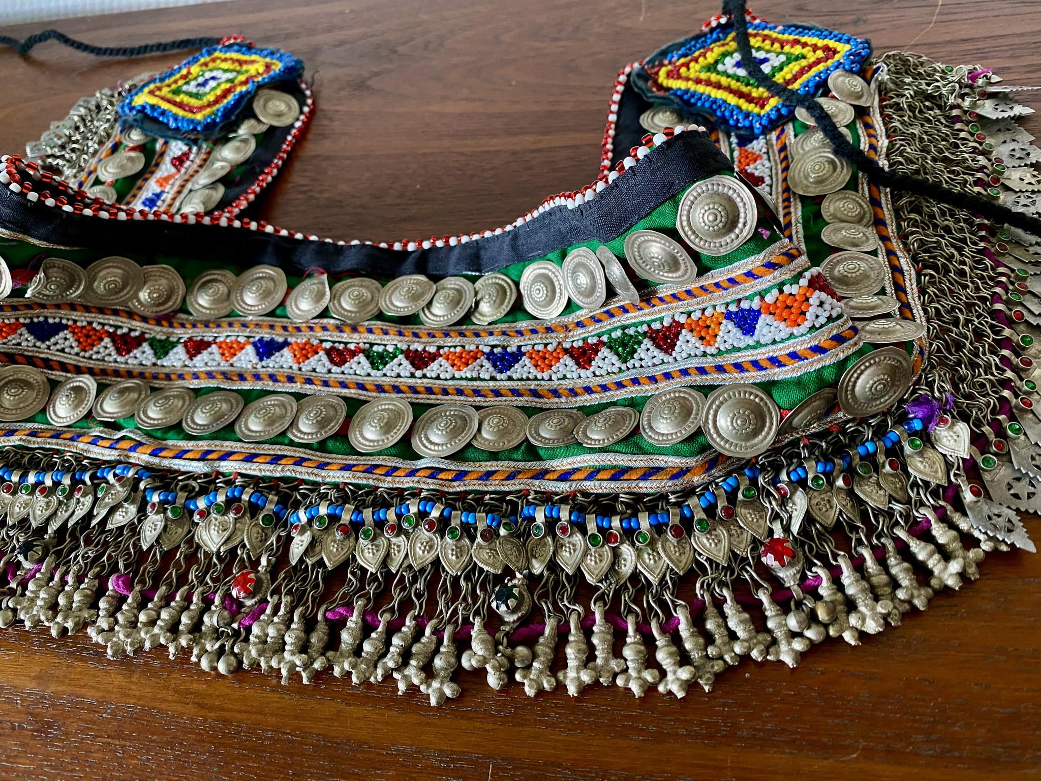 Tribal belt with metal fringe