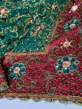 Vintage Pailletten Sari, reich bestickt