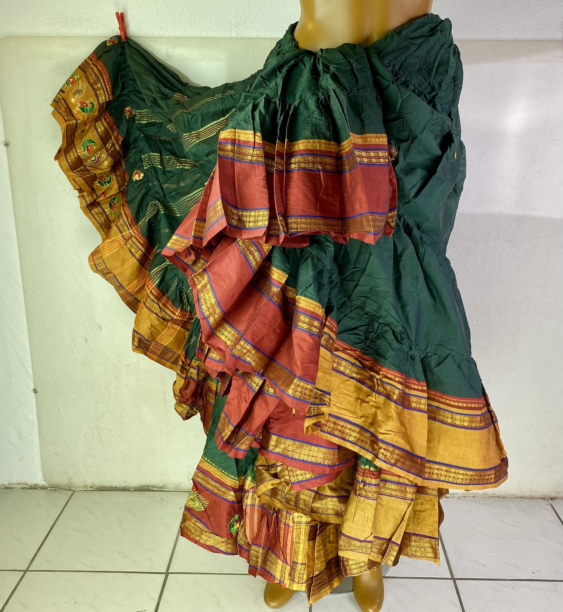 Peacock Sari Tribal Skirt/ Rock 25 yards