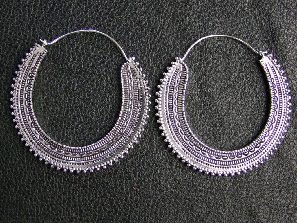 Neusilber Ohrringe *Afghan hoops*