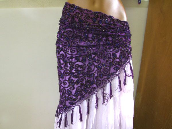Fringescarf purple with gold and blue