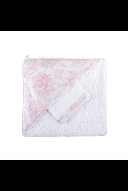 Badcape + washandje Sweet Pink