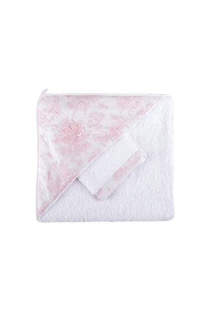 Hooded towel + washcloth Sweet Pink Theophile & Patachou