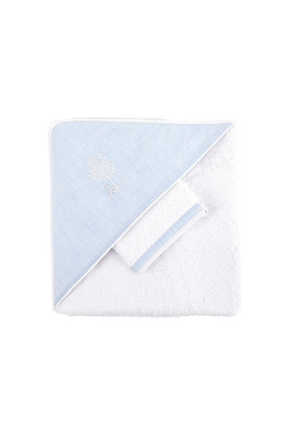 Hooded towel + washcloth Sweet Blue Theophile & Patachou