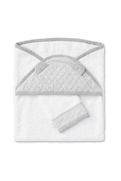 Hooded towel + washcloth Moonlight grey