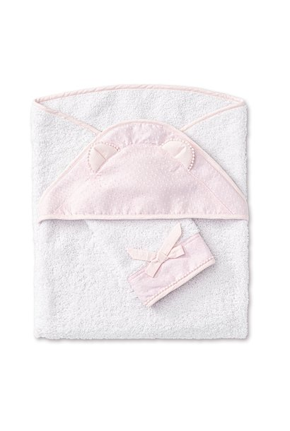 Badcape + washandje Pretty Pink