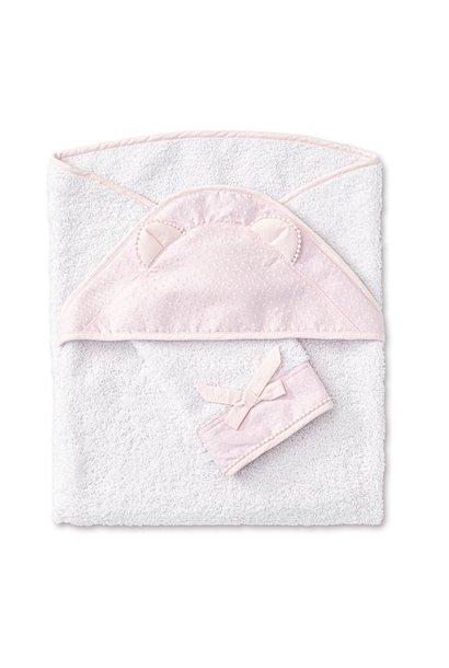 Hooded towel + washcloth Pretty Pink